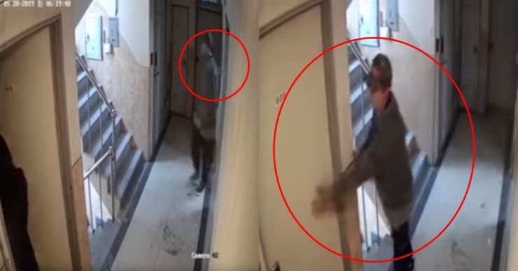 Screen capture from the widely circulated CCTV footage of a man who tried to slip into a woman's apartment as she entered her home. / Captured from YouTube