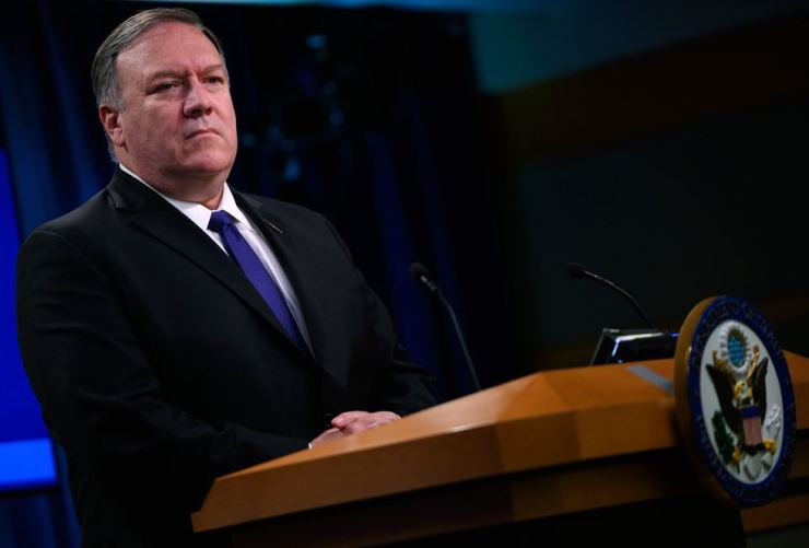 U.S. Secretary of State Mike Pompeo speaks about the U.S.-Mexico agreement on migration during a press conference at the US Departmentof State in Washington DC on June 10. AFP
