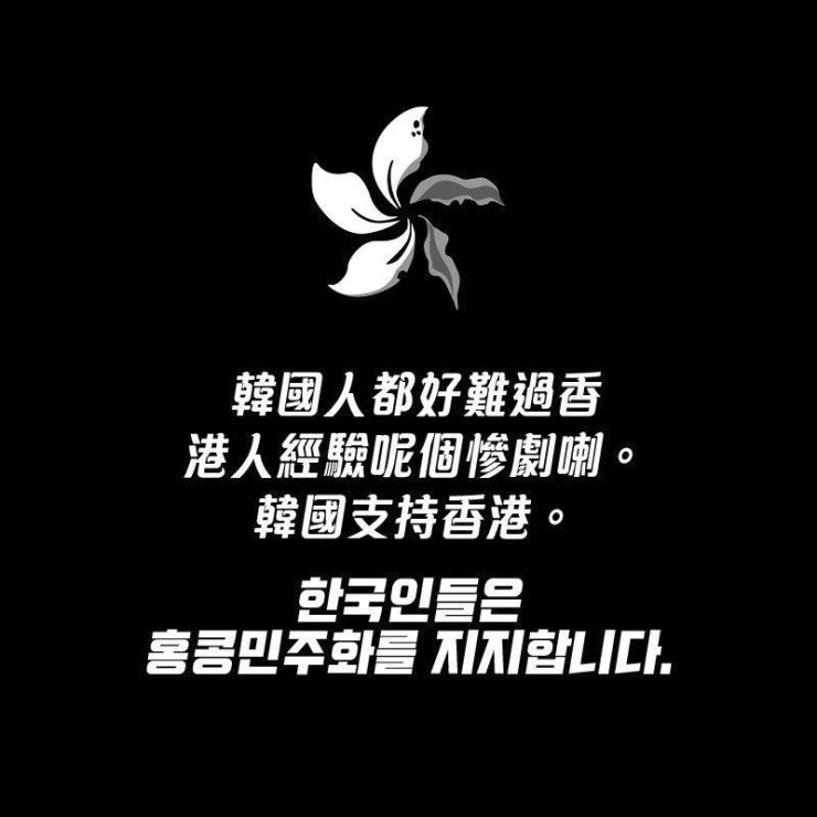 A solidarity poster that has been spreading on Korean-language social media posts this week reads 'Koreans support Hong Kong's democratization.' Captured from Twitter