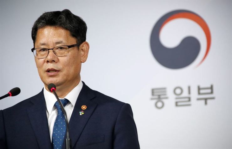 Unification Minister Kim Yeon-chul speaks during a press briefing at the Seoul Government Complex, Wednesday. Yonhap