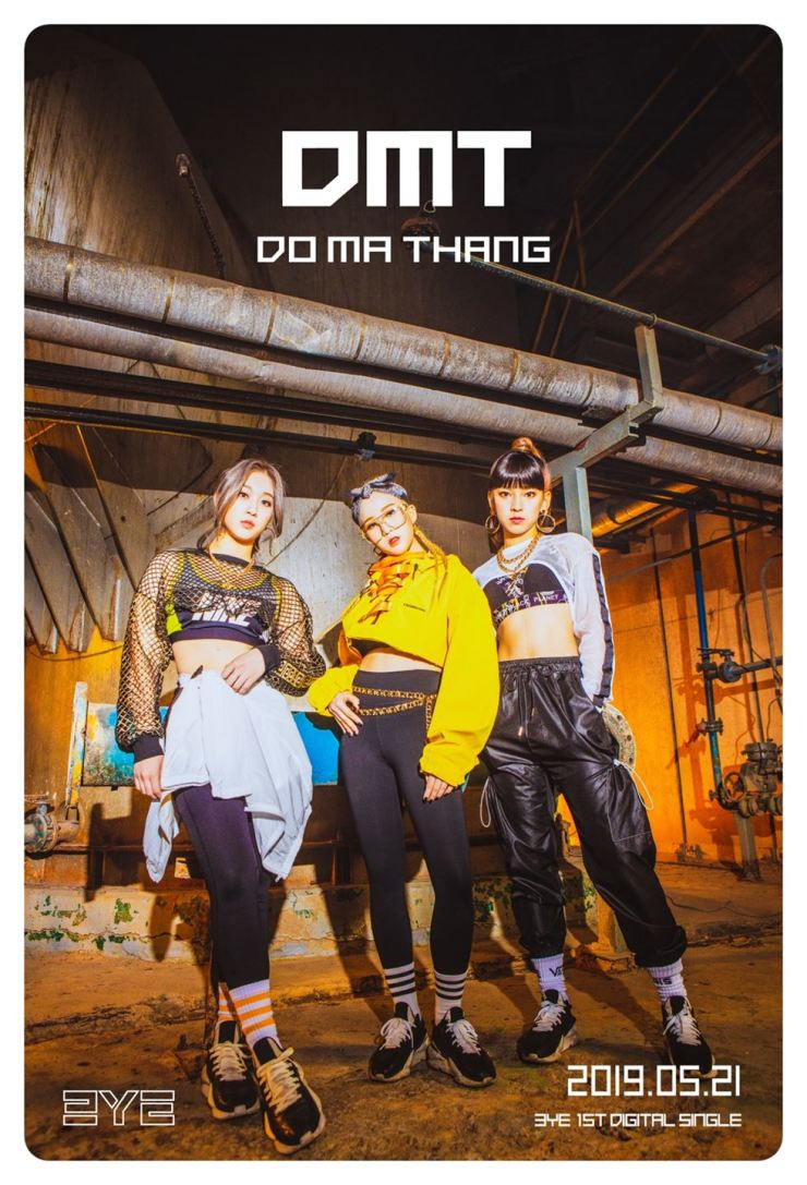 3YE (Third Eye) members Ha-eun, Yuji and Yurim strike a pose for the official poster of their new debut album, 'DO MA THANG' which was released on May 21. Courtesy of Fortune Entertainment