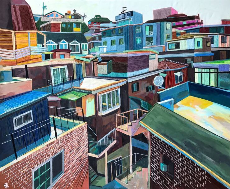 A painting by Brittany Fanning shows a residential neighborhood in Seoul. / Courtesy of Brittany Fanning