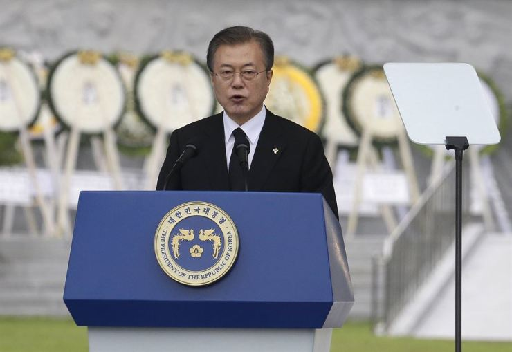 South Korean President Moon Jae-in speaks during a Memorial Day ceremony at the National Cemetery in Seoul, Thursday. AP-Yonhap