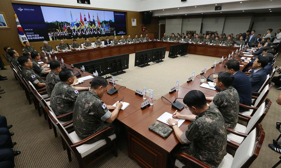 Defense Minister Jeong Kyeong-doo, second from left, speaks during the 2019 first-half military commanders' meeting at the ministry's office in Seoul's Yongsan District, Wednesday. Yonhap