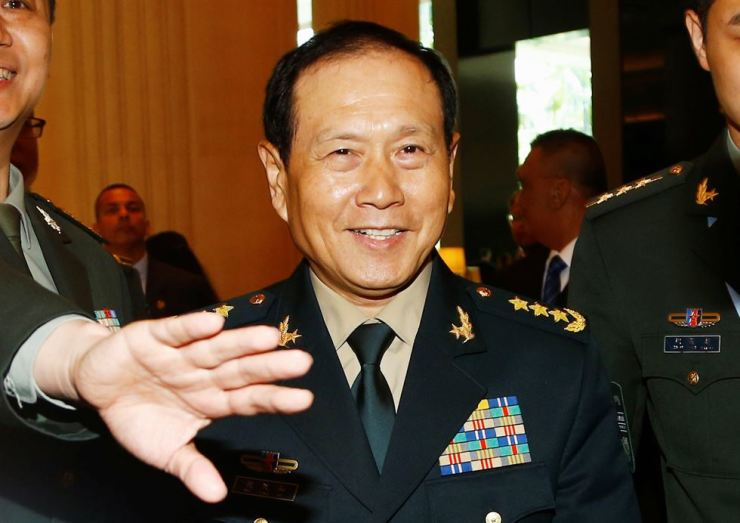 Chinese Defense Minister Wei Fenghe is seen at the IISS Shangri-la Dialogue in Singapore, June 1, 2019. Reuters-Yonhap