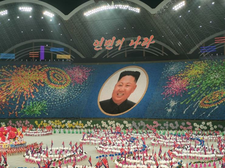 A handout photo taken on June 4, and released by Koryo Tours shows an image of North Korean leader Kim Jong-un created by performers during a 'Grand Mass Gymnastics and Artistic Performance,' or mass games, at the May Day stadium in Pyongyang. AFP