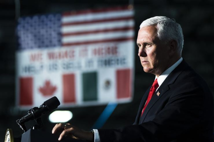 U.S. Vice President Mike Pence speaks at JLS Automation in York, Pennsylvania, June 6. AP