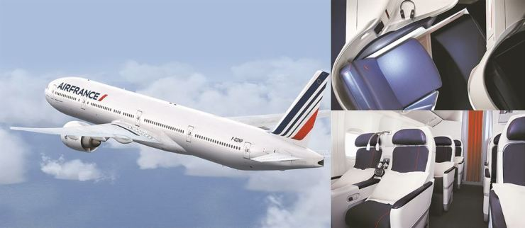 Air France is operating a B777-200, left, for three additional flights a week between Incheon and Paris during the summer peak season, which runs until Oct. 25. With the addition, the airline provides 10 flights a week. Top right is a seat in the aircraft's 28-seat business class cabin, and bottom right is the 24-seat premium economy cabin. / Courtesy of Air France