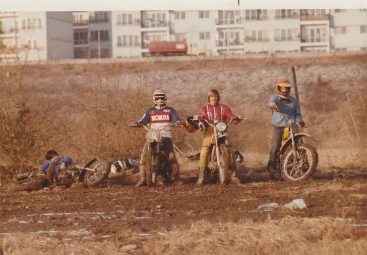 Teenagers pose with their minibikes near the Han River in Seoul in the 1970s. / Courtesy of Rocco Serrato