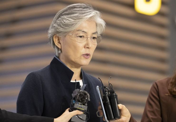 South Korean Foreign Minister Kang Kyung-wha speaks to journalists at Incheon International Airport, Wednesday morning, before departing for ASEAN meetings in Bangkok. Yonhap