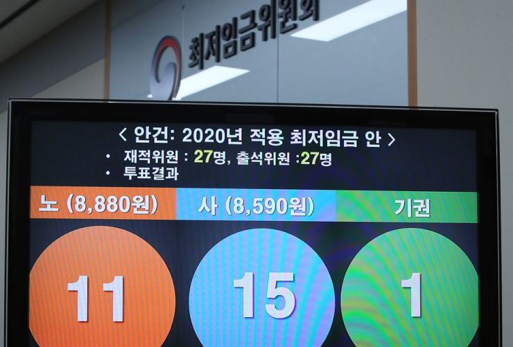 Members of the Minimum Wage Commission decided to raise the minimum wage for next year by 2.9 percent at the government complex in Sejong, Friday. Yonhap