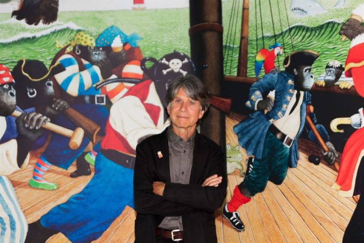 Anthony Browne poses for a photo at the exhibition site of 'Anthony Browne's Happy Theatre,' currently taking place at Hangaram Design Museum, Seoul Arts Center. The exhibition will run through Sept. 8.