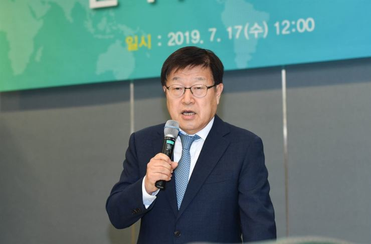 Korea International Trade Association (KITA) Chairman Kim Young-ju speaks during a press conference at the association's headquarters in Seoul, Wednesday. Courtesy of KITA