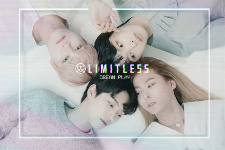 A.M., Raychan, Moonvok and Heeseok, clockwise from top left, team up for the four-member band Limitless to make their debut. They release their first album 'Dream Play,' Tuesday. /Courtesy of ONO Entertainment