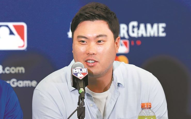 Los Angeles Dodgers' Hyun-Jin Ryu speaks during a news conference in Cleveland, Monday. Ryu will be the National League starting pitcher in the 90th All-Star Game played on Tuesday in Cleveland.