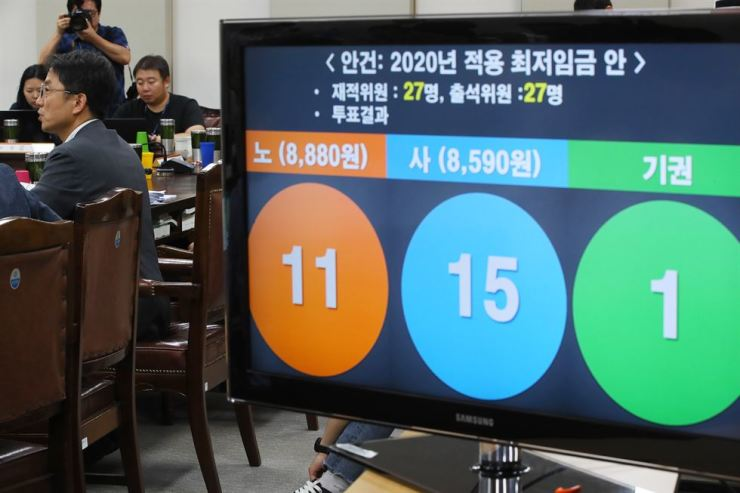 A screen shows the result of the minimum wage vote for 2020 at a meeting of the Minimum Wage Commission at the Government Complex in Sejong, Friday. Yonhap