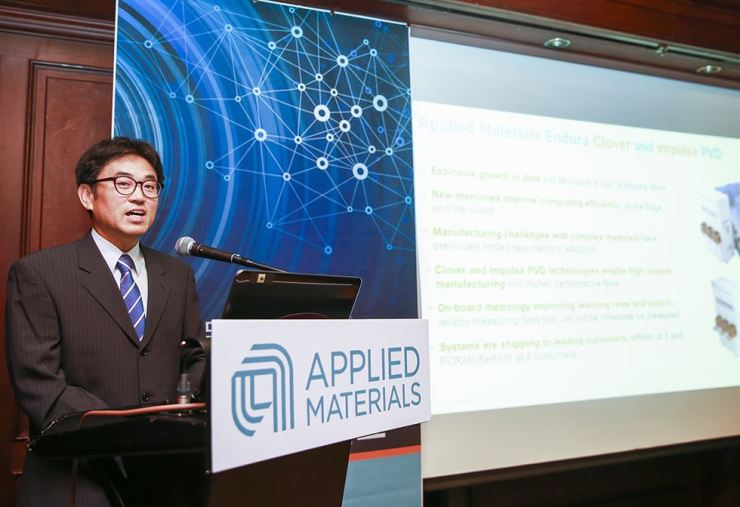 Choi Bum-jin, director of process support engineering at Applied Materials Korea, speaks during a press conference at the Grand InterContinental Seoul Parnas hotel, Wednesday. / Courtesy of Applied Materials Korea