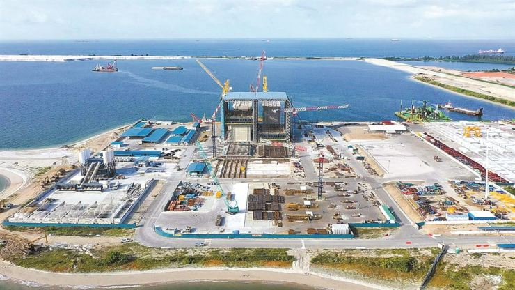 An overview of Hyundai E&C's construction work at the Tuas Finger 3 project in Singapore. Yonhap