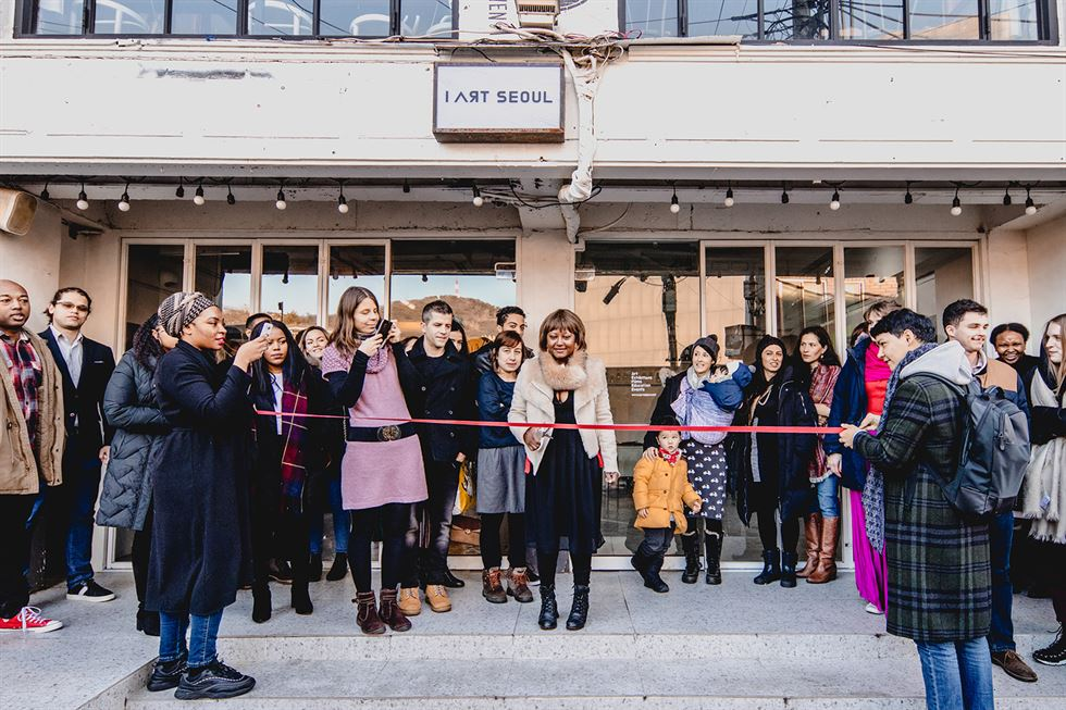 Fabienne Valmond stands in front of I Art Seoul in Gyeongnidan, Seoul, during the grand opening on Jan. 5. / Courtesy of Jennae Lee Photography