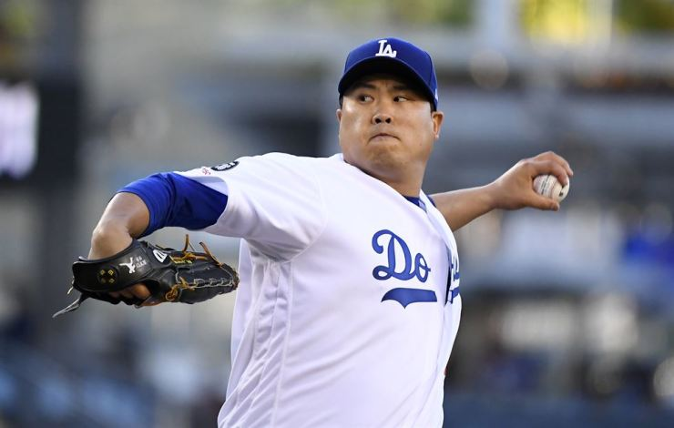 Los Angeles Dodgers starting pitcher Ryu Hyun-Jin throws during the first inning of the team's game against the Miami Marlins in Los Angeles, July 19. AP