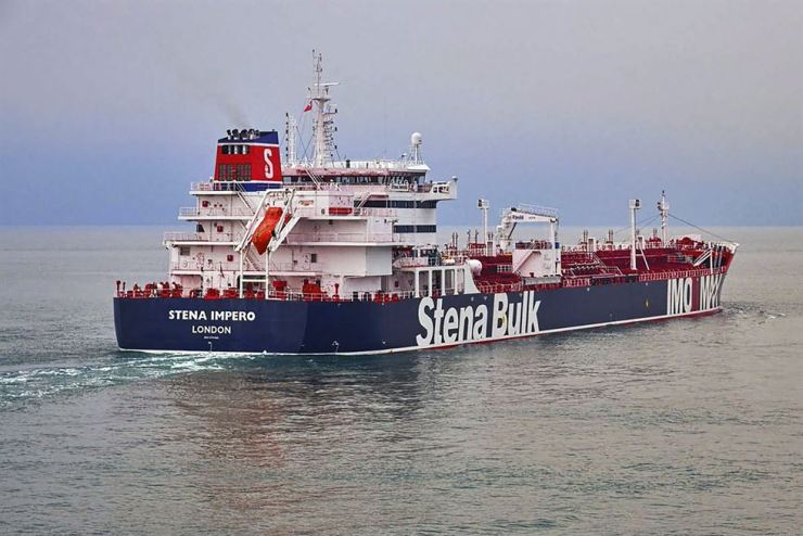 This undated photo issued July 19 by Stena Bulk shows the British oil tanker, believed to have been captured by Iran, at an unknown location. AP