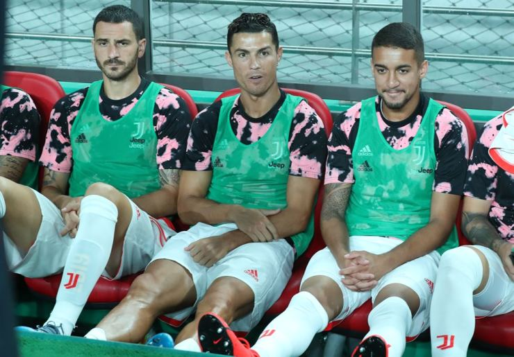 Cristiano Ronaldo of Juventus F.C., the Italian Serie A champions, sits on the team bench during a friendly match against Team K League, which consists of the K League All-Stars, at the World Cup Stadium in Seoul, Friday. Yonhap