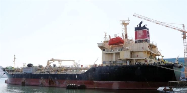 Seen above is a South Korean oil tanker detained at a port in Busan for allegedly violating United Nations sanctions on North Korea. Yonhap