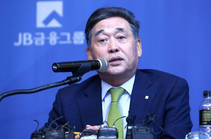 JB Financial Group Chairman Kim Ki-hong speaks during a press conference at the Conrad Seoul on Yeouido in Seoul, Tuesday. / Courtesy of JB Financial Group
