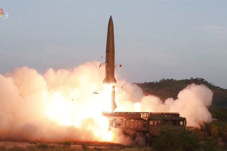 North Korea's Korean Central Television on July 26 broadcasts short-range ballistic missiles being fired. Yonhap
