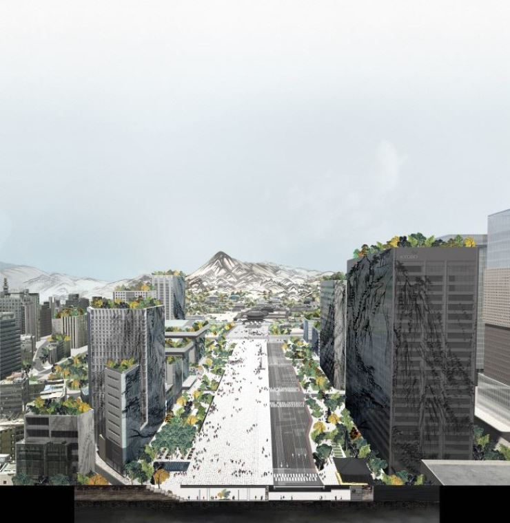 A computer graphic rendition of 'Deep Surface,' the winning design for a new, expanded Gwanghwamun Square with an underground passageway, scheduled to be built by May 2021 / Courtesy of Seoul Metropolitan Government