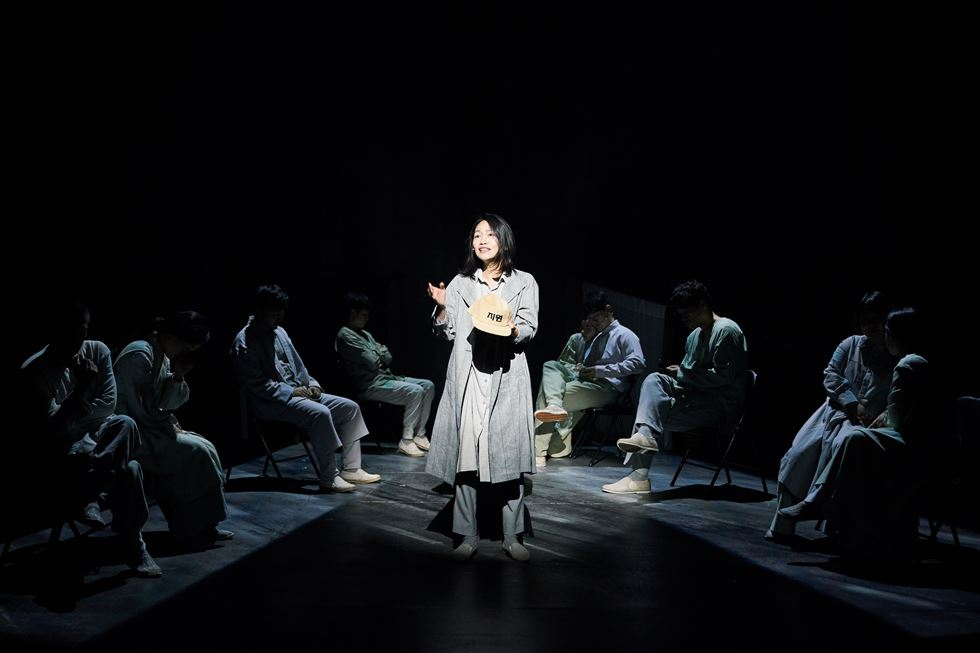 Jung Woon-sun, left, plays Margaret and Baek Eun-hye plays Marianne, the two nurses who volunteered at the leper community of Sorok Island for over four decades, in a scene from the musical 'An Island: 1933-2019.' Courtesy of Pro's Lab