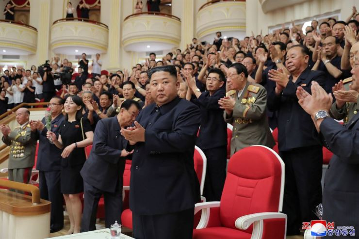 North Korean leader Kim Jong-un attends celebrations for the 66th anniversary of the Korean War Armistice in Pyongyang, North Korea, in this undated picture released by North Korea's Central News Agency on July 27. Yonhap