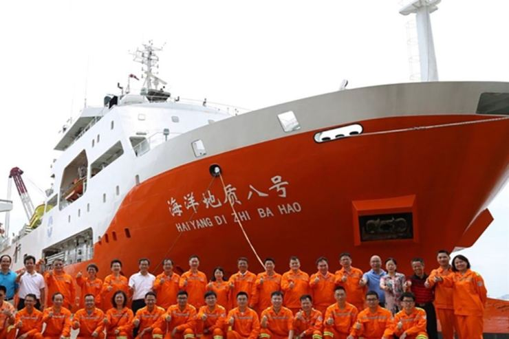 Chinese survey ship Haiyang Dizhi 8 and its escorts entered the area on July 3 to carry out seismic research. Photo from the South China Morning Post