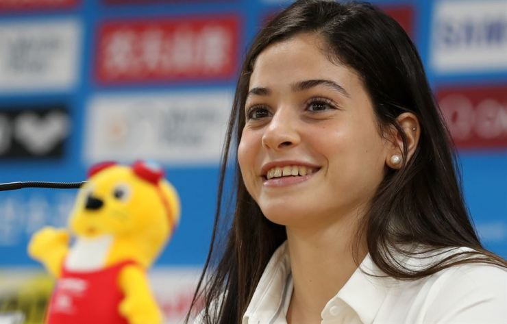 Syrian swimmer Yusra Mardini speaks during a press conference at the Main Press Center of the 2019 World Swimming Championships in Gwangju, Friday. Mardini was a member of the Refugee Olympic Athletes Team (ROT), that competed under the Olympic flag at the 2016 Summer Olympics in Rio de Janeiro. Yonhap