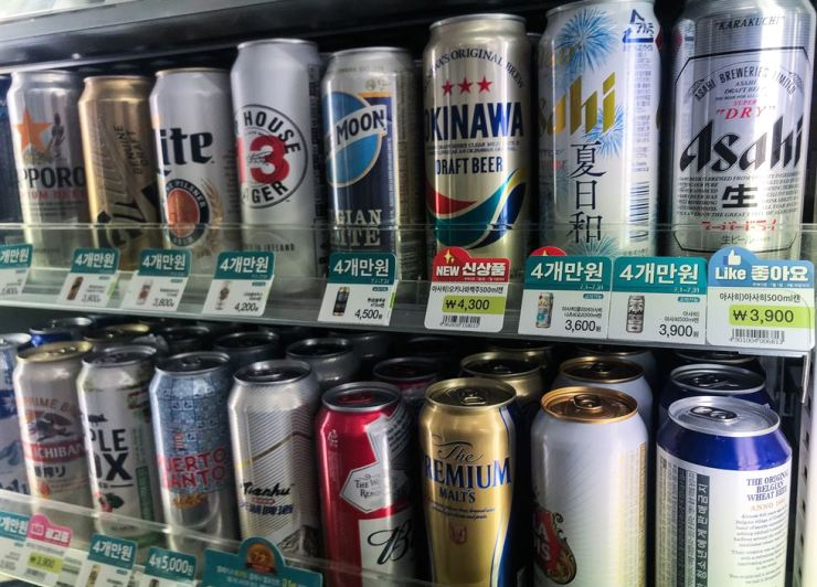 Sales of imported Japanese beers have dropped drastically following Tokyo's retaliatory trade action. Yonhap