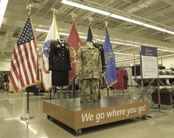 U.S military uniforms are on display at the entrance of a military clothing shop, located inside Exchange's main store. Korea Times Photo by Kim Kang-min