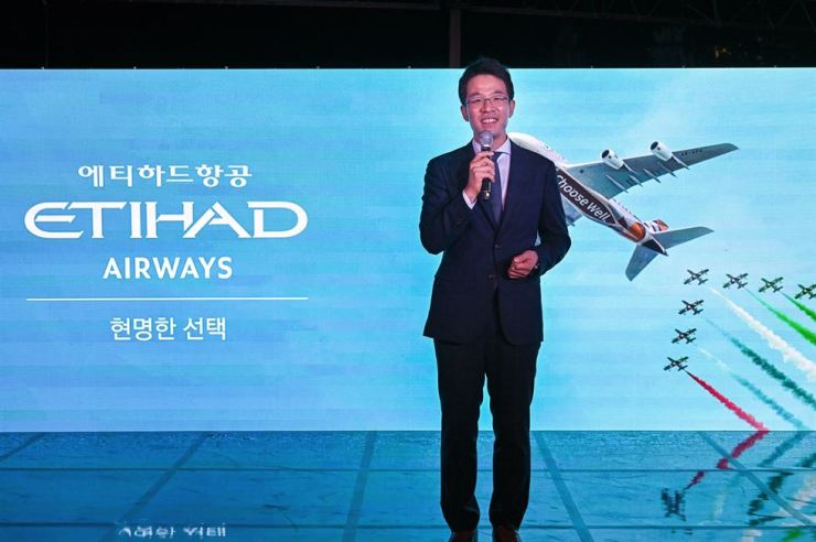 Ahn Jin-moon, Etihad Airways country manager Korea, talks about the launch of the A380 operation on the Incheon-Abu Dhabi route at the Shilla Hotel, July 2. Courtesy of Etihad Airways