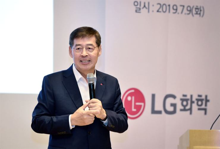 LG Chem CEO and Vice Chairman Shin Hak-cheol speaks during a media conference at LG Twin Tower in Seoul, Tuesday. / Courtesy of LG Chem