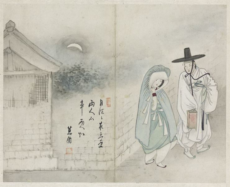Shin Yun-bok's 'Wolhajeongin' or 'Lovers under the Moon' portrays an upper-class man and a gisaeng meeting for a secret union late at night. / Korea Times file