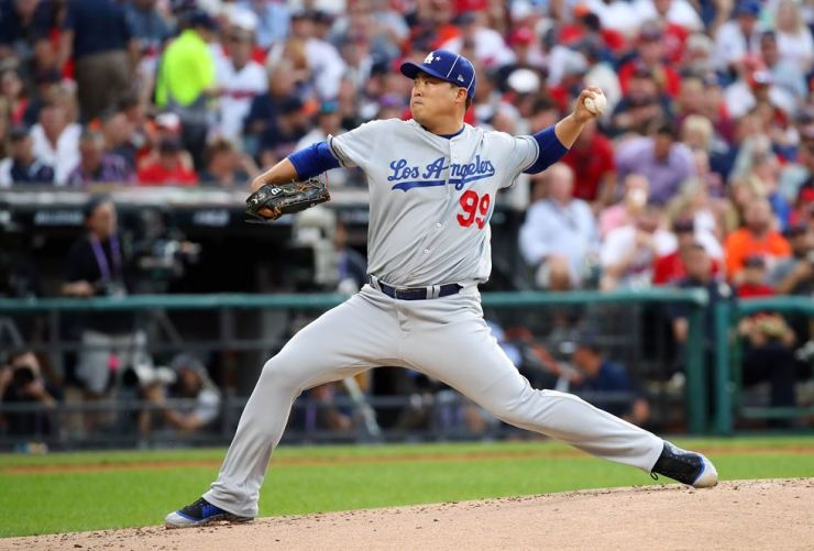 Ryu Hyun-jin of the Los Angeles Dodgers and the National League pitches during the 2019 MLB All-Star Game, presented by Mastercard at Progressive Field in Cleveland, Ohio, Tuesday. AFP-Yonhap