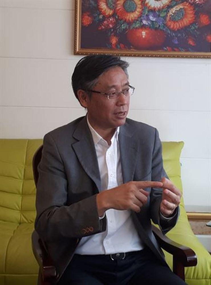 Jiang Feng speaks during an interview at the Shanghai International Studies University in Shanghai, China, May 18.