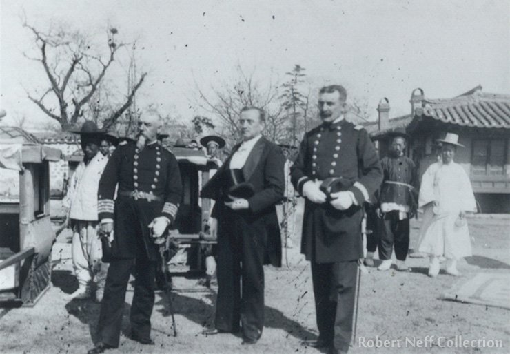 Minister Sill and two American naval officers circa 1895. courtesy of Michael E. Dobson