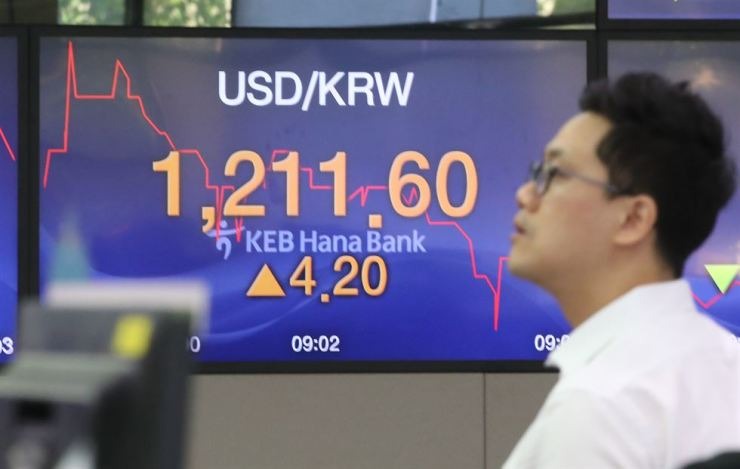 An electronic board inside the KEB Hana Bank's dealing room in Seoul shows the falling Korean won against the U.S. dollar, Friday. / Yonhap