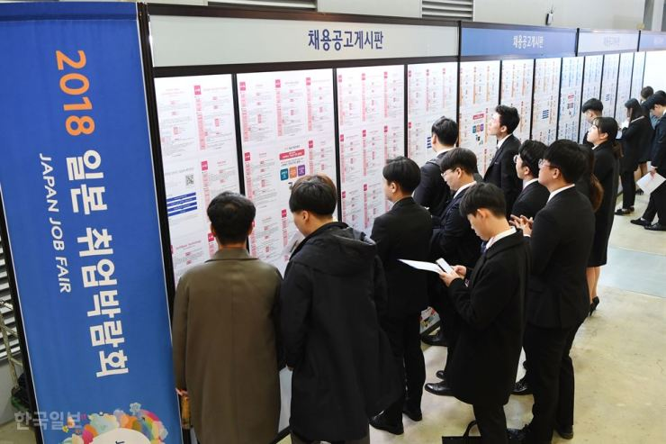 Jobseekers look at postings during a job fair for Japanese companies at Busan Exhibition and Convention Center (BEXCO) in this November 2018 photo. / Korea Times file
