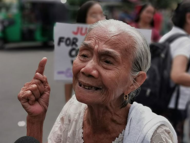 Narcisa Claveria, who claims to be a victim of sexual abuse of the Japanese Imperial Army during World War II, reacts during a demonstration marking the International Day to Commemorate Victims of Japanese Wartime Sexual Slavery, near the Malacanang presidential palace in Manila, Philippines, Aug. 14. According to a statement of the protestors, they are saddened that 74 years since the end of World War II, Japan still refuses to atone fo its wartime atrocities. EPA