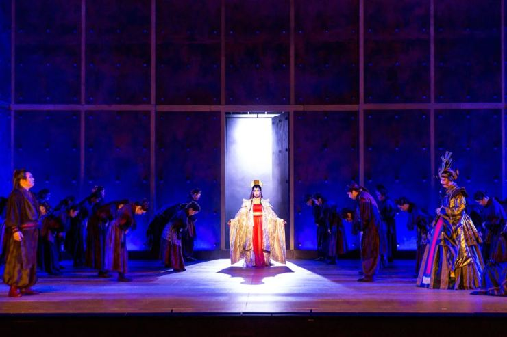 Soprano Lilla Lee, center, performs for Puccini's final opera 'Turandot' during a dress rehearsal open to the media at Seoul Arts Center's CJ Towol Theater, Tuesday. Courtesy of Seoul Arts Center