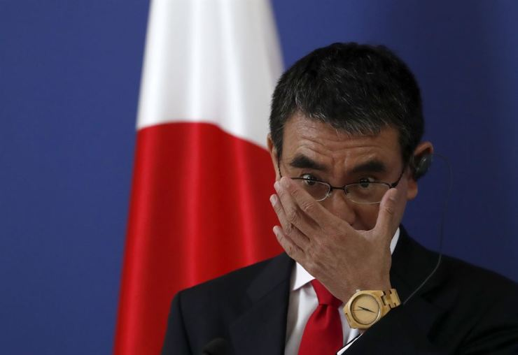 Japanese Foreign Minister Taro Kono gestures during a press conference after a meeting with his Serbian counterpart Ivica Dacic in Belgrade, Serbia, Thursday, Aug. 15, 2019. AP