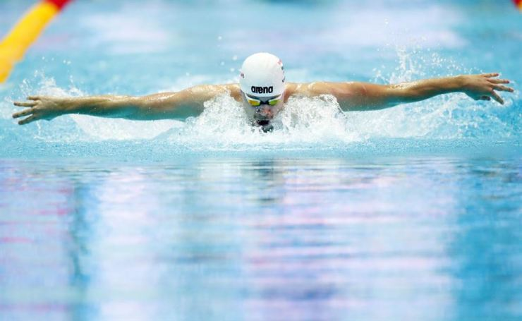 Hungary's Tamas Kenderesi competes in the men's 200m butterfly during the FINA World Championship at Nambu University Municipal Aquatics Center in Gwangju, Korea, July 23. Reuters