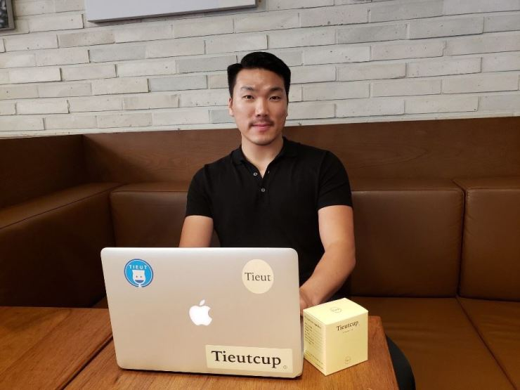 Yoon Tae-jun, the CEO of feminine care social venture Tieut, poses for a picture after an interview with The Korea Times, Monday, at a cafe in Gangnam-gu, Seoul. Korea Times photo by Lee Gyu-lee