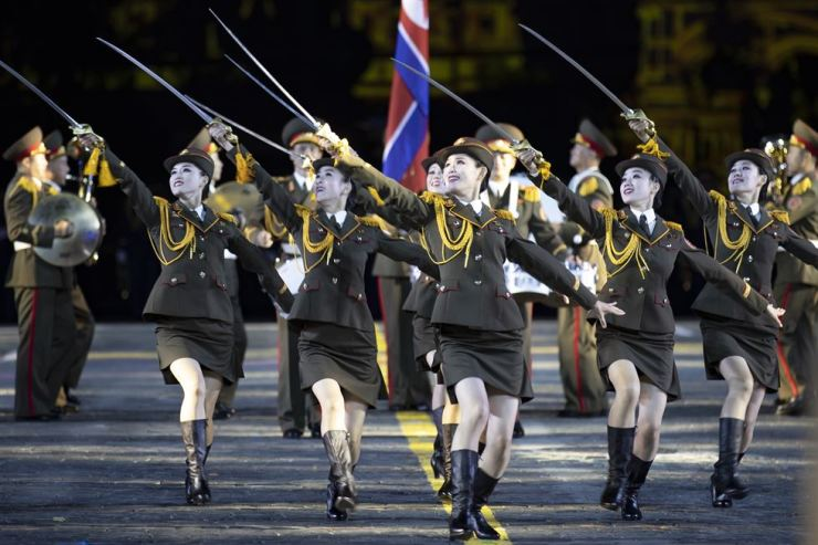 Participants from a North Korea military band perform during the Spasskaya Tower international military music festival in Red Square in Moscow, Russia, Friday, Aug. 23, 2019. AP